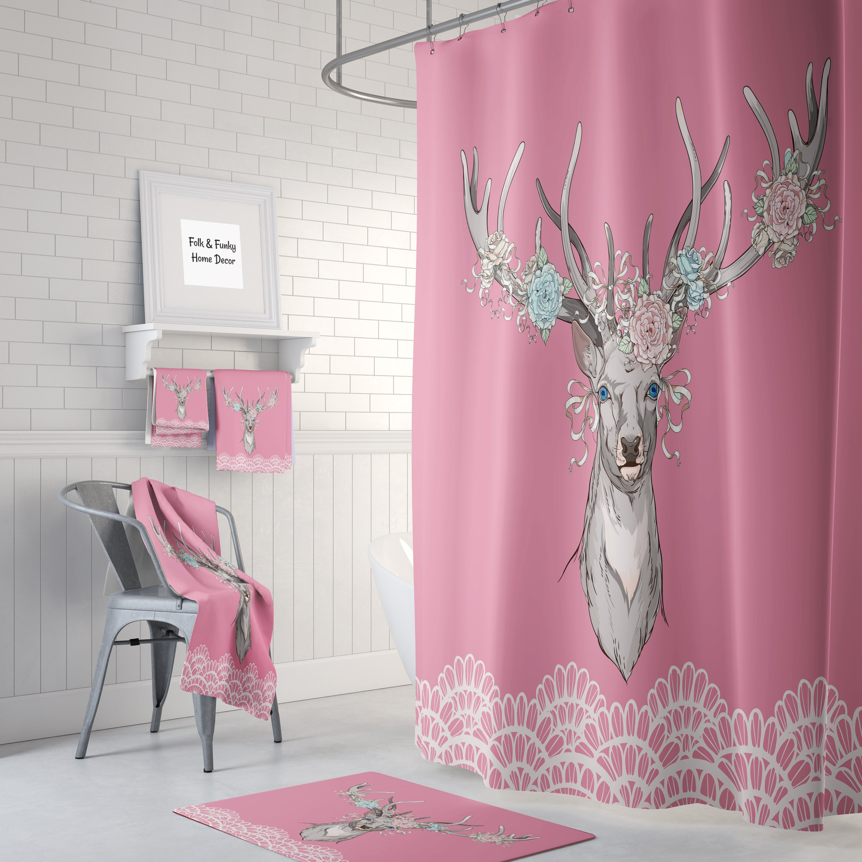 . Shower Curtain  Pink Bathroom Decor   Beautiful Floral Deer  Bath