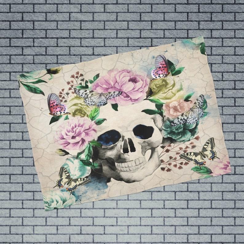 day Of The Dead Butterfly Floral Plush Fleece Sugar Skull Blanket Vintage Inspired