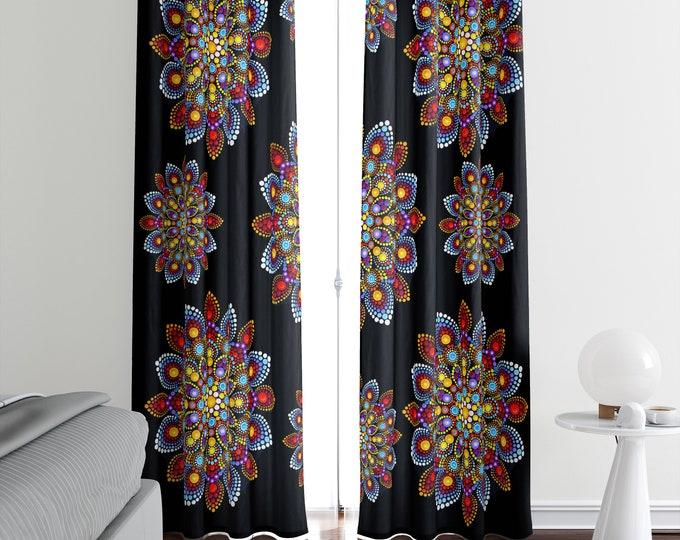 Window Curtains Boho Floral Mandala Curtain Panels Blackout, Sheers, Valances Available
