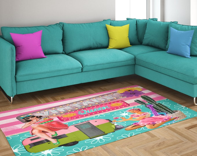 Retro Rug, Colorful Glam Campers, Vintage Inspired, Throw Rug, Area Rug