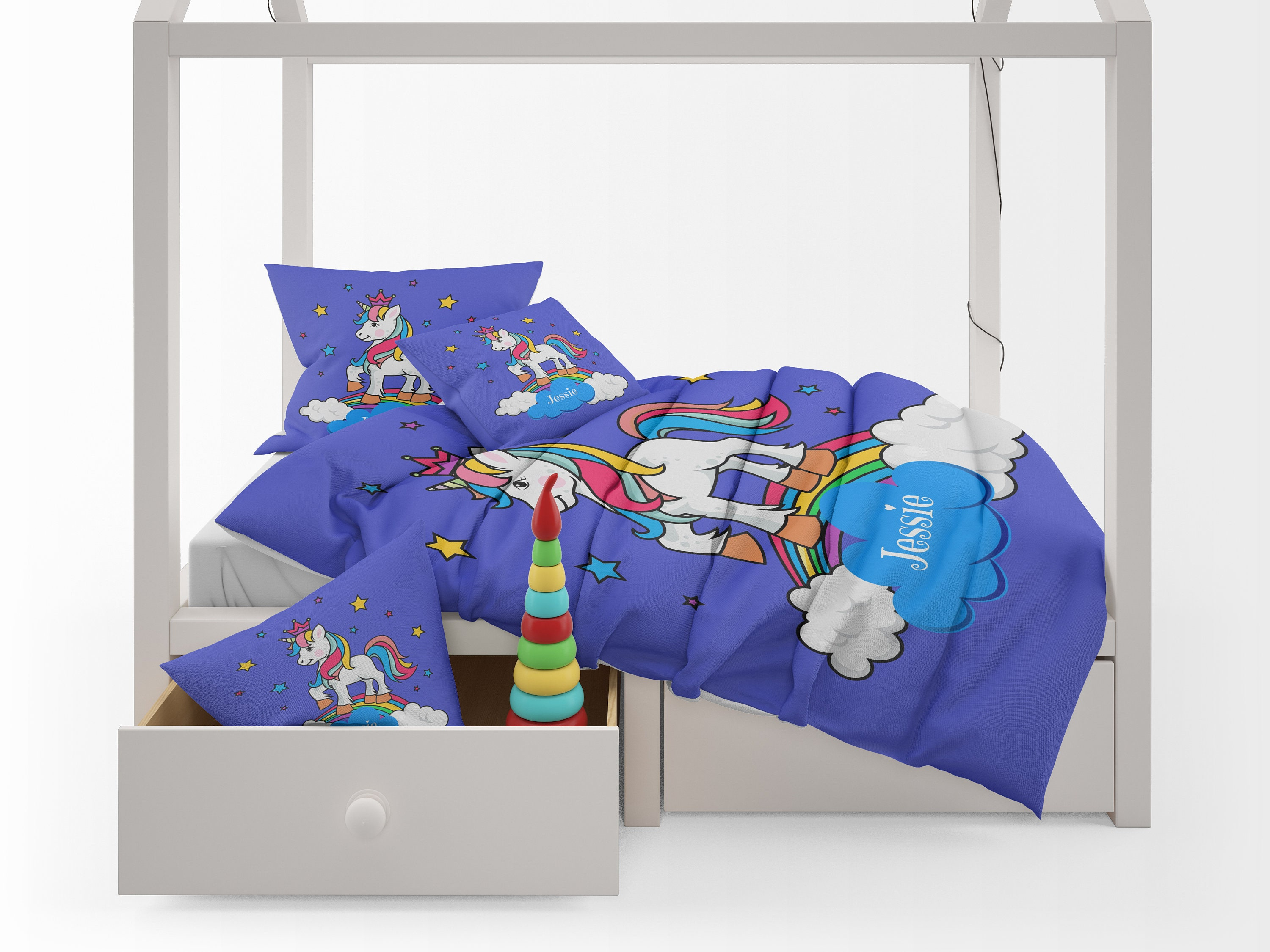 childrens bedding unicorn bedding personalized duvet cover or