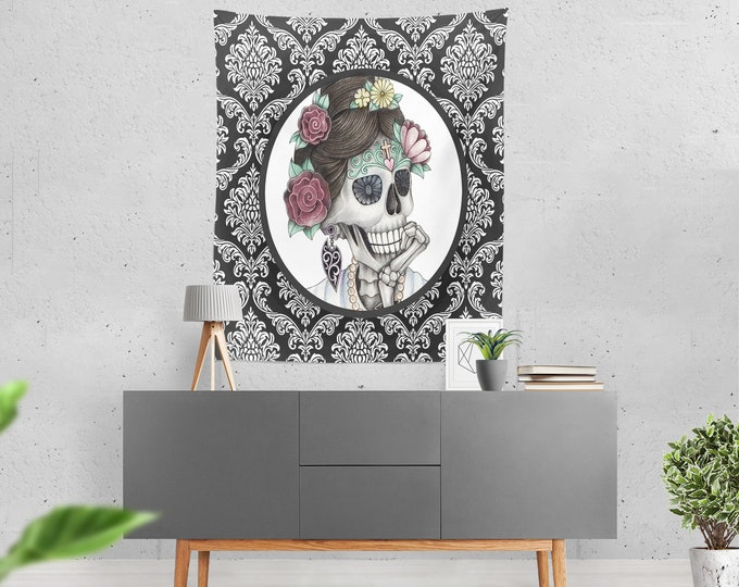 """Sugar Skull Skeleton Wall Tapestry Black and White Damask """"Cameo Annie"""""""