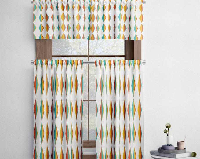 Mid Century Diamonds Window Valance, Window Curtains, Curtain Panel