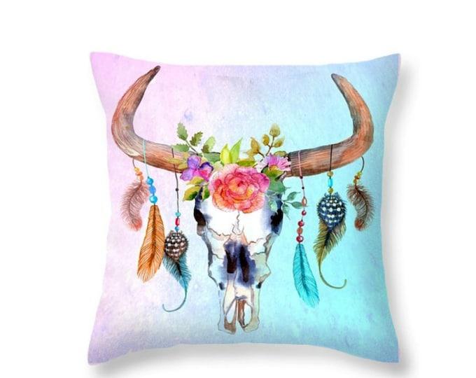 Steer  Throw Pillow Dream Catcher