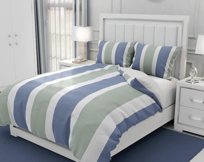 Blue Stripe Bedding, Comforter, Duvet Cover, Pillows Shams
