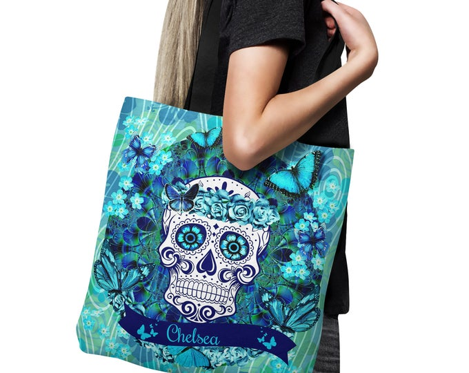 Personalized  Sugar Skull Tote Bag, Canvas Bag , Shopping Bag 18x18, Teal Butterflies