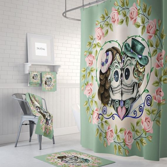 Shower Curtain Sugar Skull Day Of The Dead Bath Mat