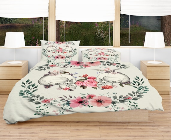 Sugar Skull Bedding Beige Pink Floral Duvet Cover Or