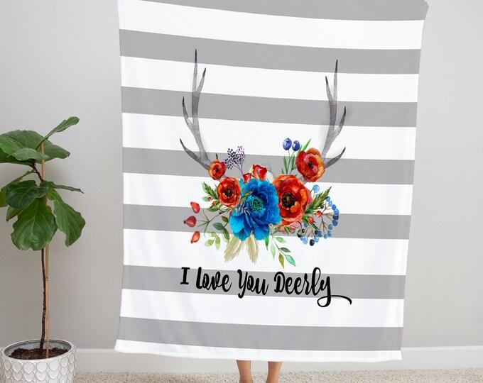 Boho Blanket Floral Antlers