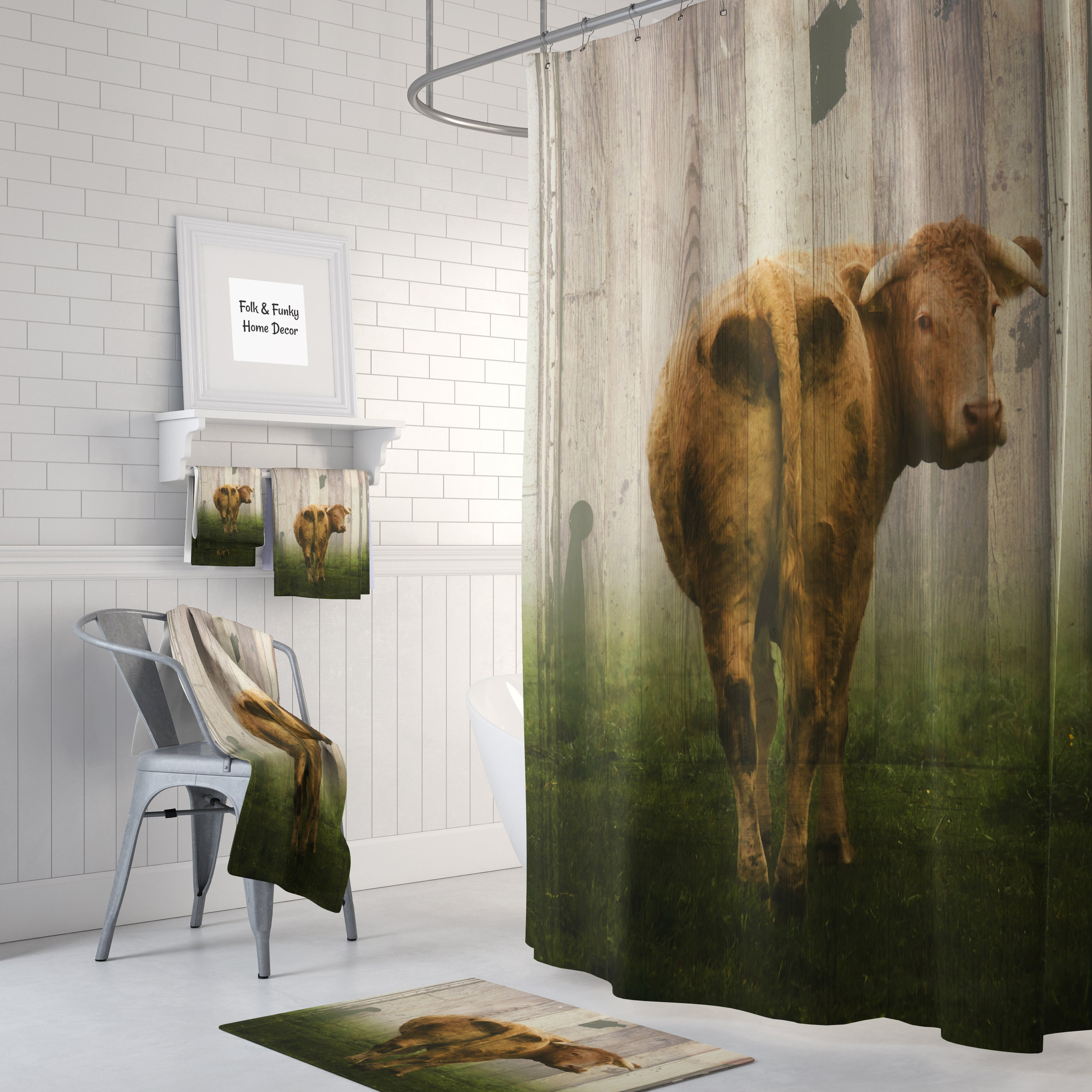Primitive Rustic Shower Curtain Old Wood Door With Cow