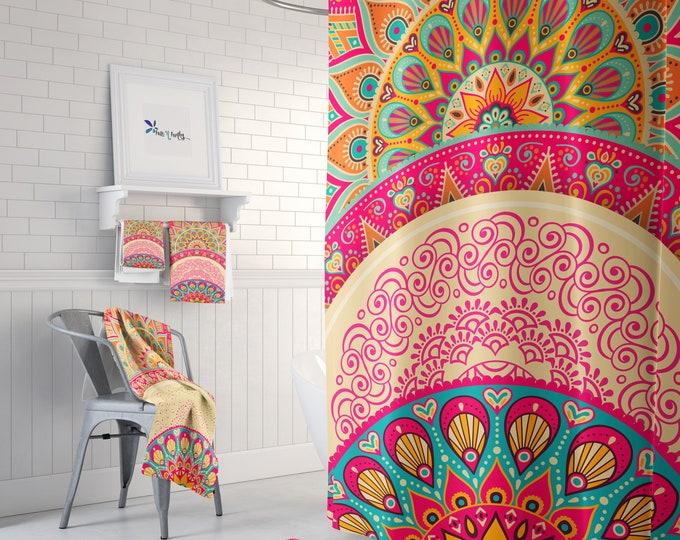 Boho Shower Curtain Optional Towels and Bath Mat Mandala Peacock