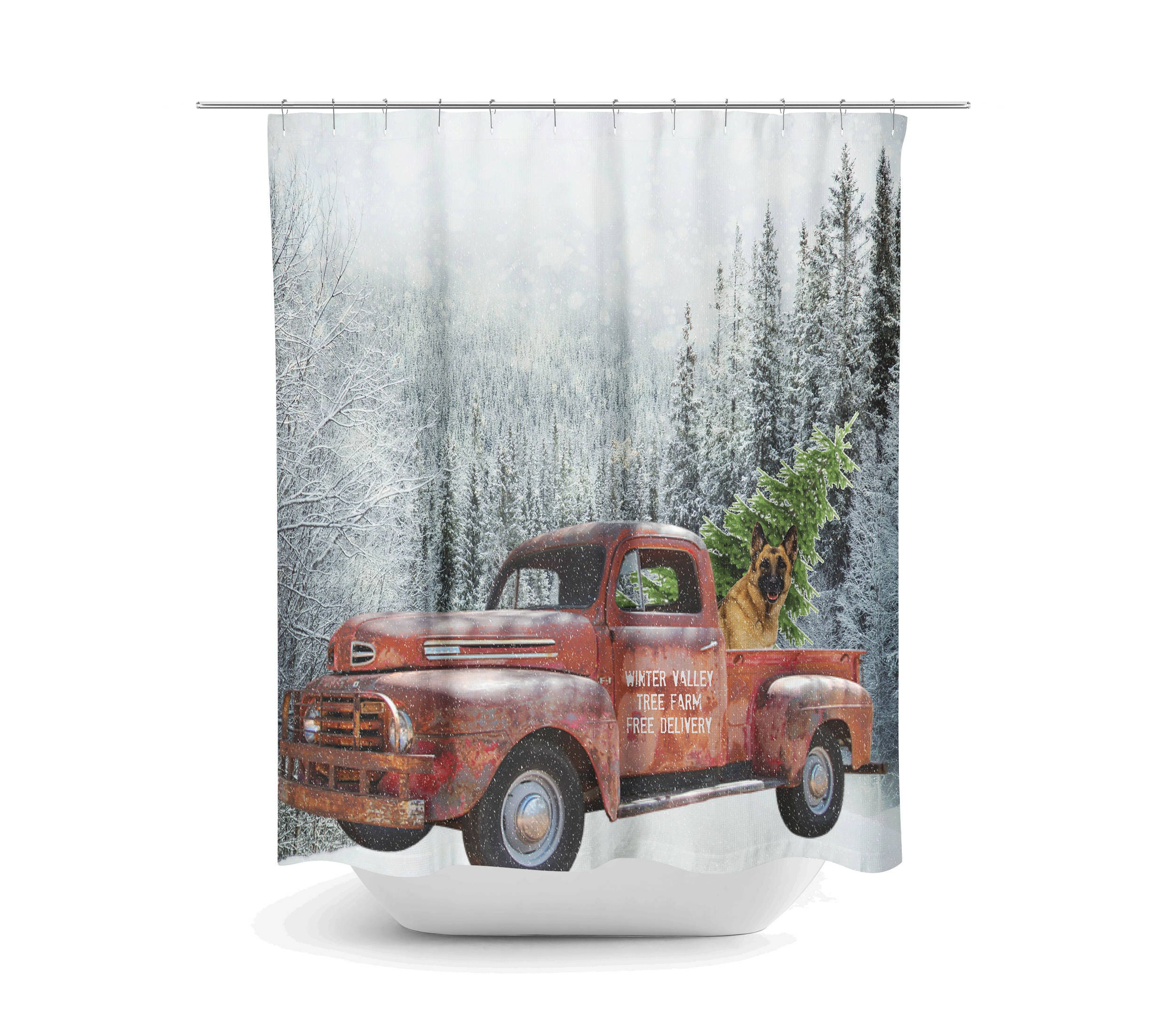 Red Truck With Christmas Tree Shower Curtain , Mountains