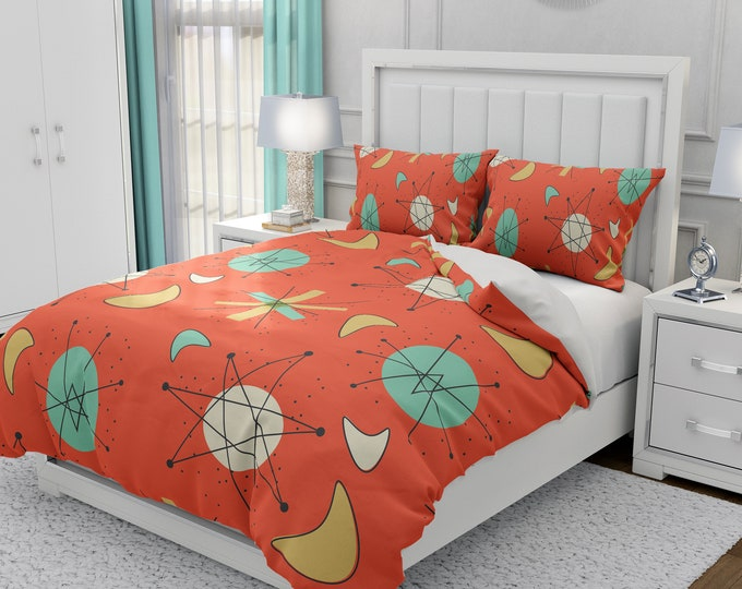 Mid Century Modern Bedding, Duvet Cover or Comforter, Twin, Full, Queen, King, Atomic Orange