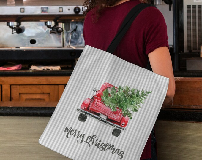 """Red Truck With Christmas Tree Tote Bag , 18"""" x 18"""" , Holiday Shopping Bag"""