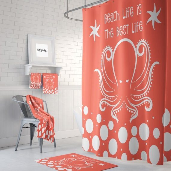 Octopus Shower Curtain, Coral, Blue, Green, Purple