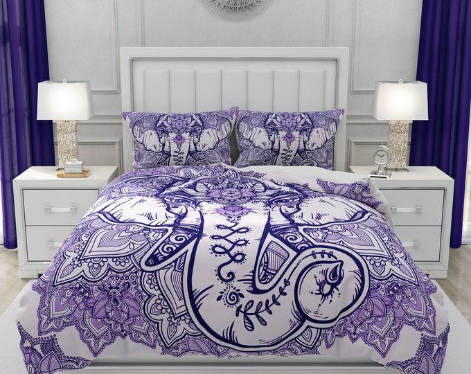 Purple Elephant Mandala Comforter ,  Bedding ,  Duvet Cover,  Twin  Full, Queen, King, Rug, Throw Pilllow