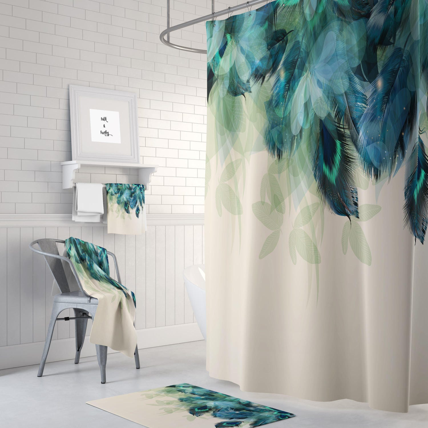 Shower Curtain Peacock Feather Floral Optional Bath Mat Set