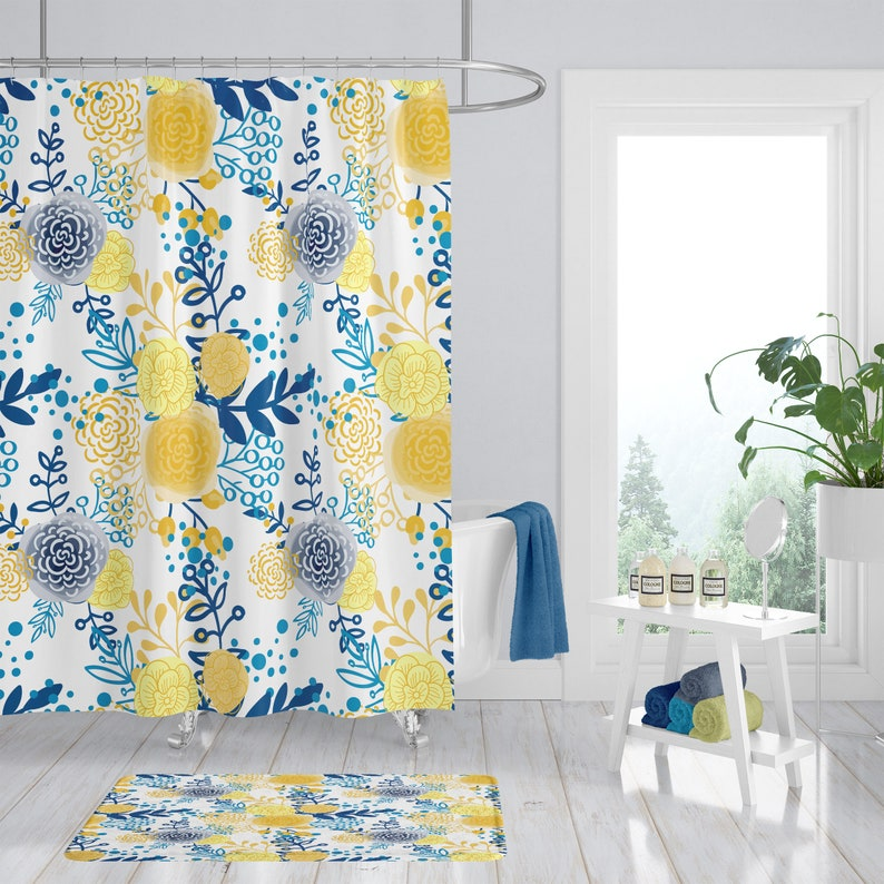 Shower Curtain Floral French Country Yellow And Blue
