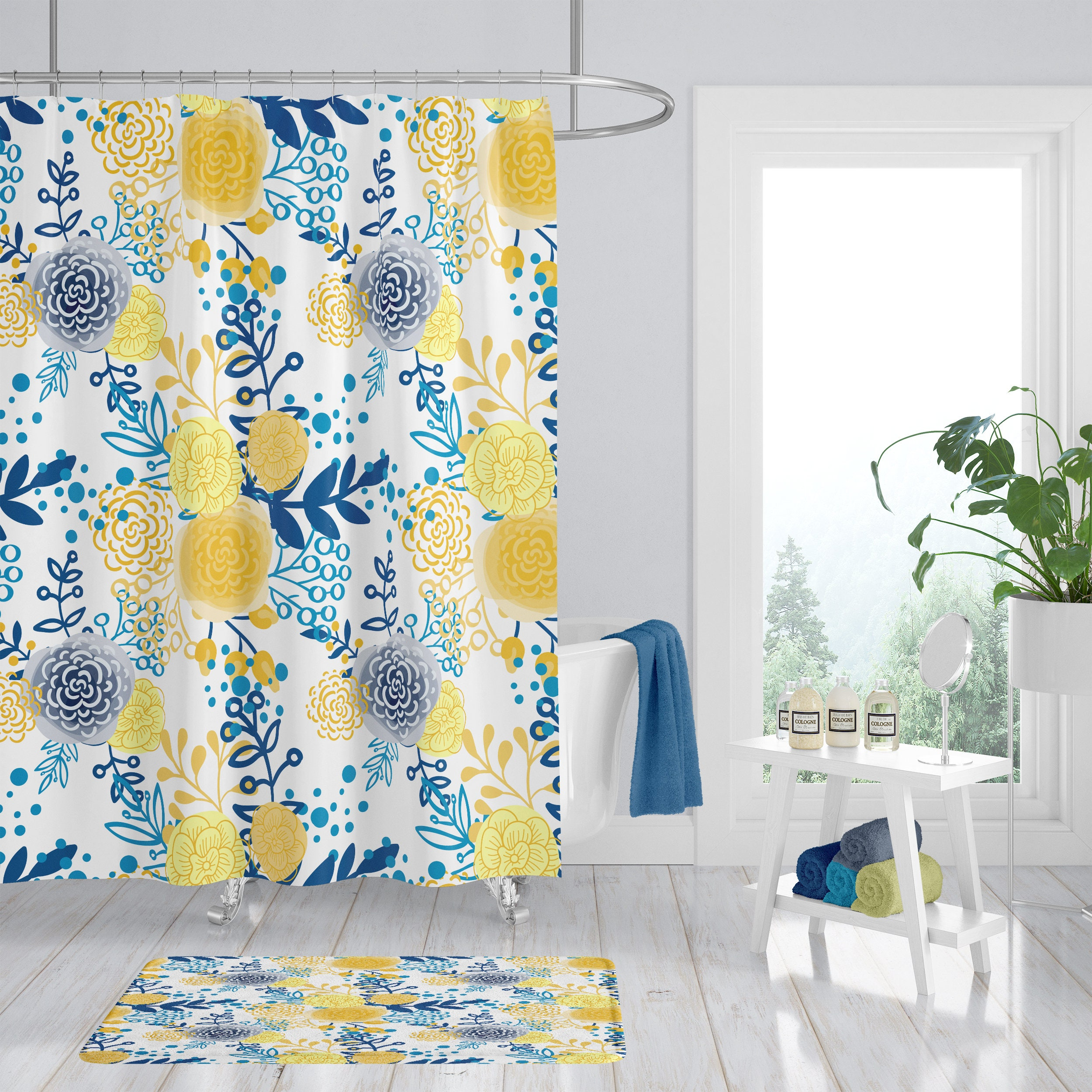 Shower Curtain Floral French Country Yellow And Blue Bath Mat Bath Towels