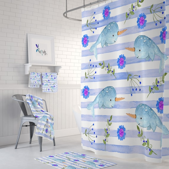 Narwhal Shower Curtain Etsy