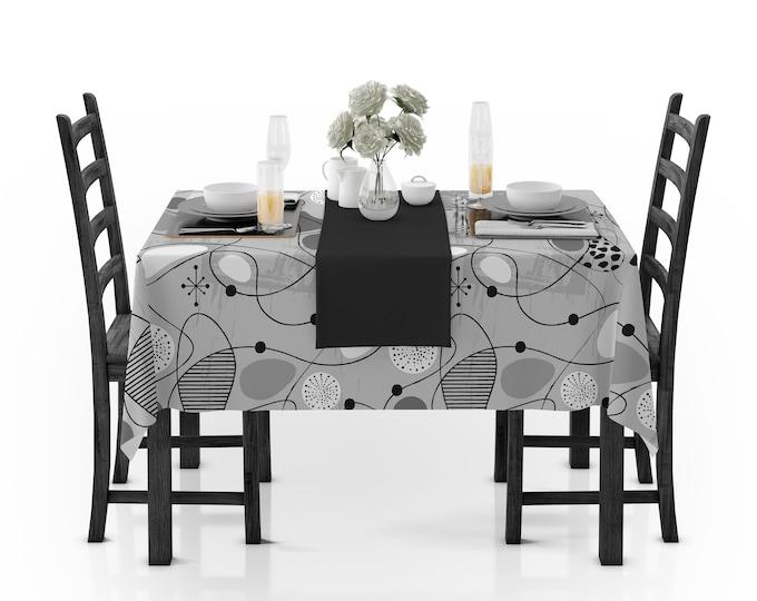 Gray Mid-Century Modern Tablecloth