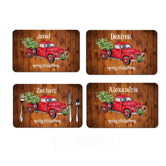 Vintage Red Truck Christmas Placemats.Red Truck Christmas Place Mats Personalized With Names