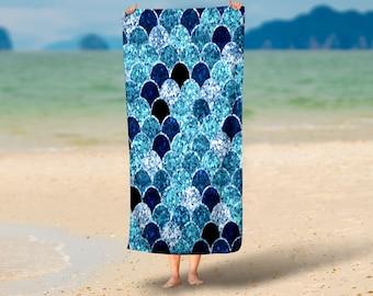 Mermaid Scales  Beach Towel , Oversized  36 in x 72 in