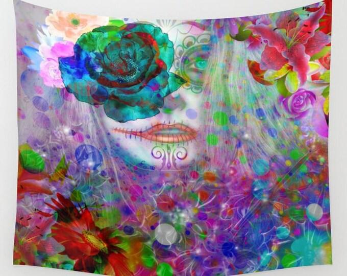 "Sugar Skull Wall Tapestry, ""Willows Garden""    Home Decor. Large Size Wall Art Wall Decor Lady Skull"