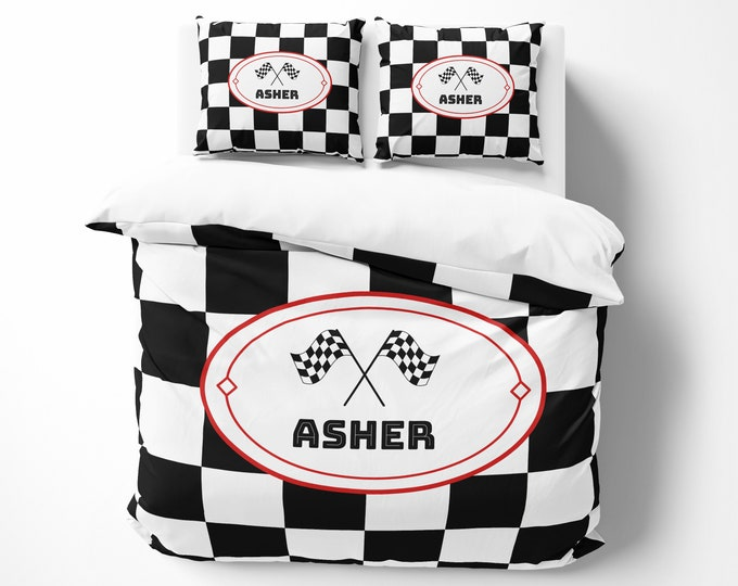 Personalized Racing Theme Comforter, Duvet Cover, Pillow Shams