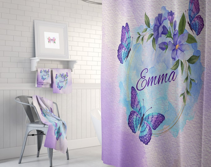 Butterfly Shower Curtain Personalized Bathroom Set Option