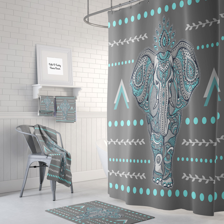 Superieur Boho Elephant Shower Curtain Optional Bath, Bath Towels Mat Bathroom Set,  Gray , Turquoise