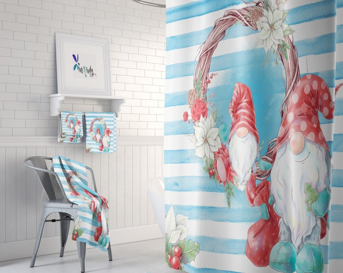 Gnome Shower Curtain , Christmas Gnomes Watercolor Add Bath Mat and Towels For a Bathroom Set