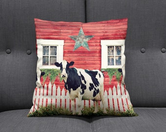 Primitive Rustic  Cow Throw Pillow  Farmhouse  Country Decor Old Red Barn