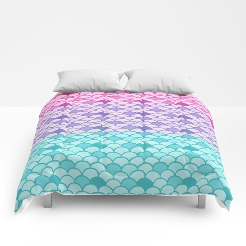 1ba3a1082f9f5e Mermaid Scales Comforter or Duvet Cover Set Twin Full | Etsy