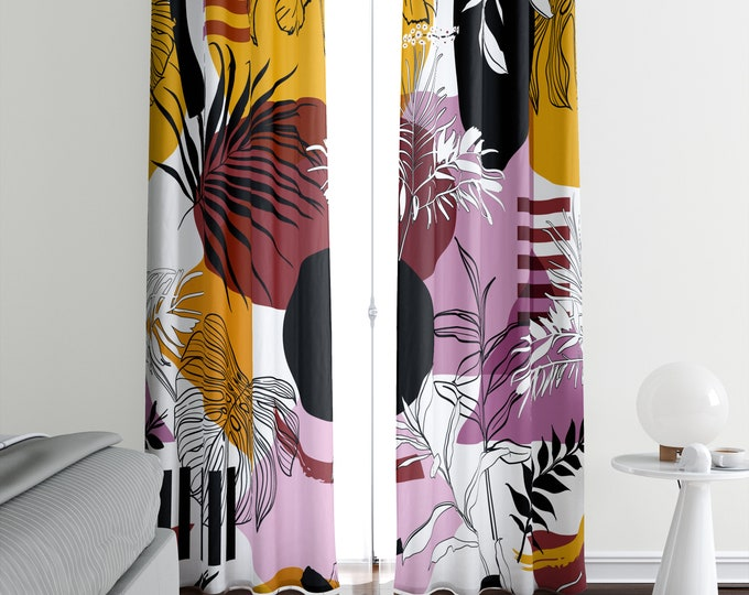 Modern Abstract Window Curtains Lined, Blockout, Sheer, Semi Sheer, Valance Options