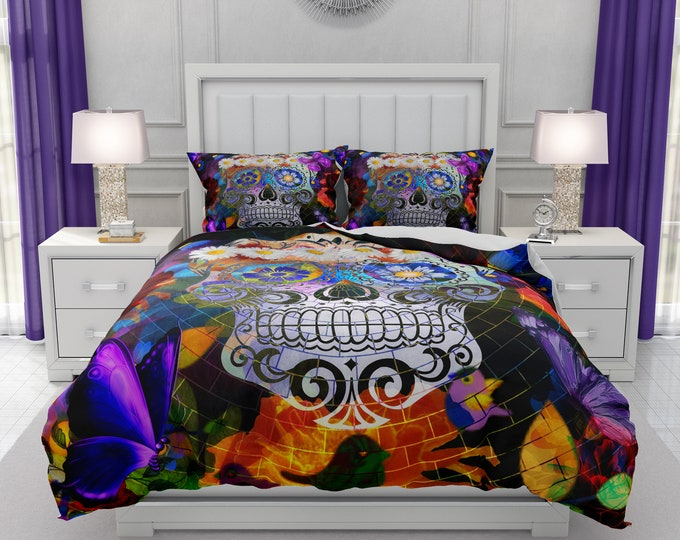 Skull Bedrrom Decor, Sugar Skull Comforter, Skull Duvet Cover, Colorful Mosaic Doona Cover