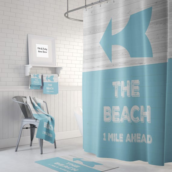 Beach Theme Shower Curtain Optional Bath Towels Mat Bathroom