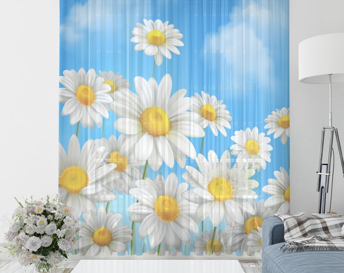 Daisy Floral Sheer Window Curtains