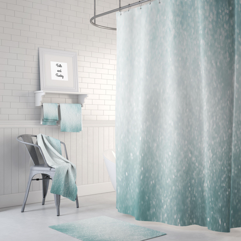 Shower Towel Broke: Brokeh Lights Shower Curtain Bath Mat Towels Stormy Aqua