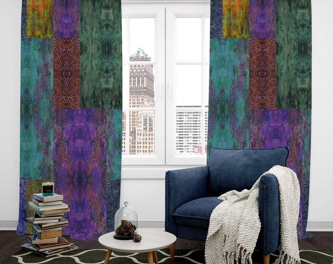 Boho Decor, Window Curtains , Batik Block Design
