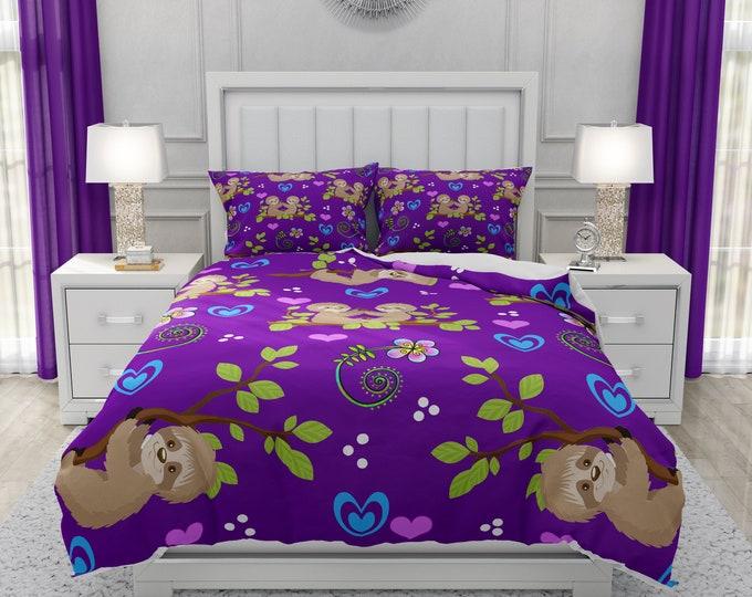 Purple Sloth Bedding
