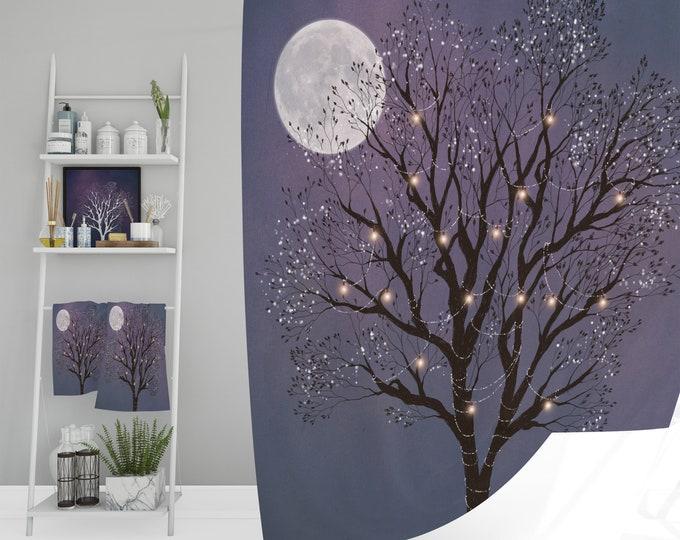 Enchanted Tree  Shower Curtain Optional Add Bath Mats, Towels