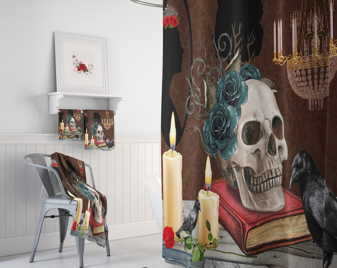 Gothic Theme Skull Shower Curtain Optional Set , Accessories