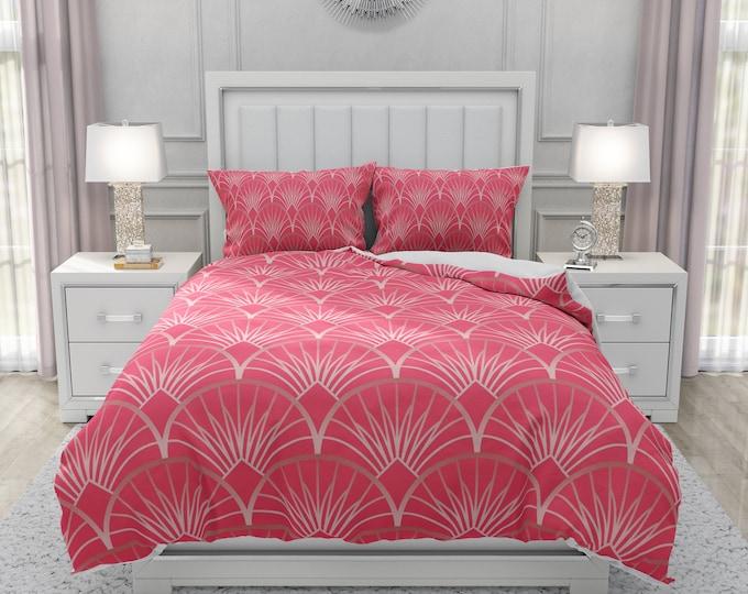 Dark Pink Deco Bedding Set