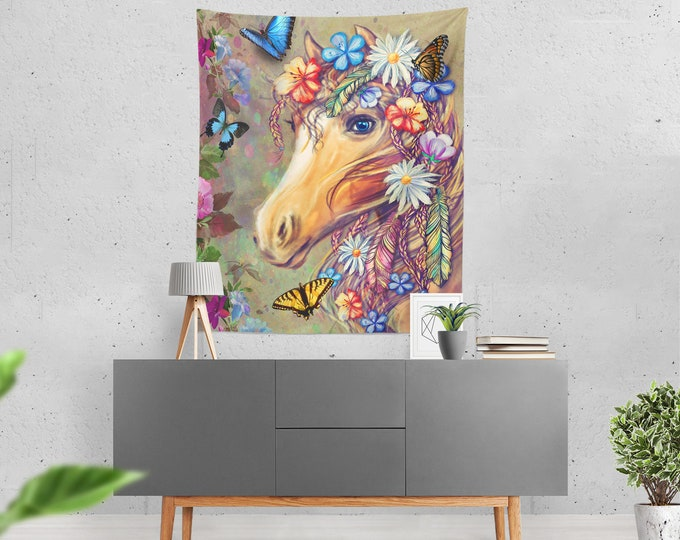 Hippie Gypsy Horse Wall Tapestry