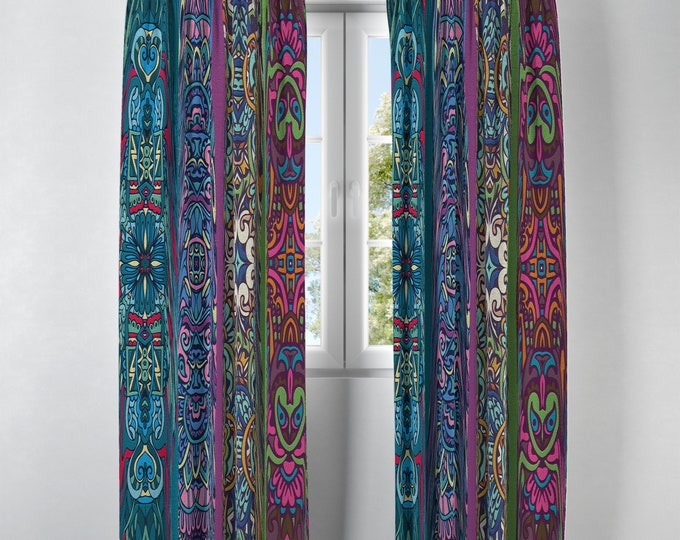 Boho Hippie Window Curtains Retro Funky Abstract