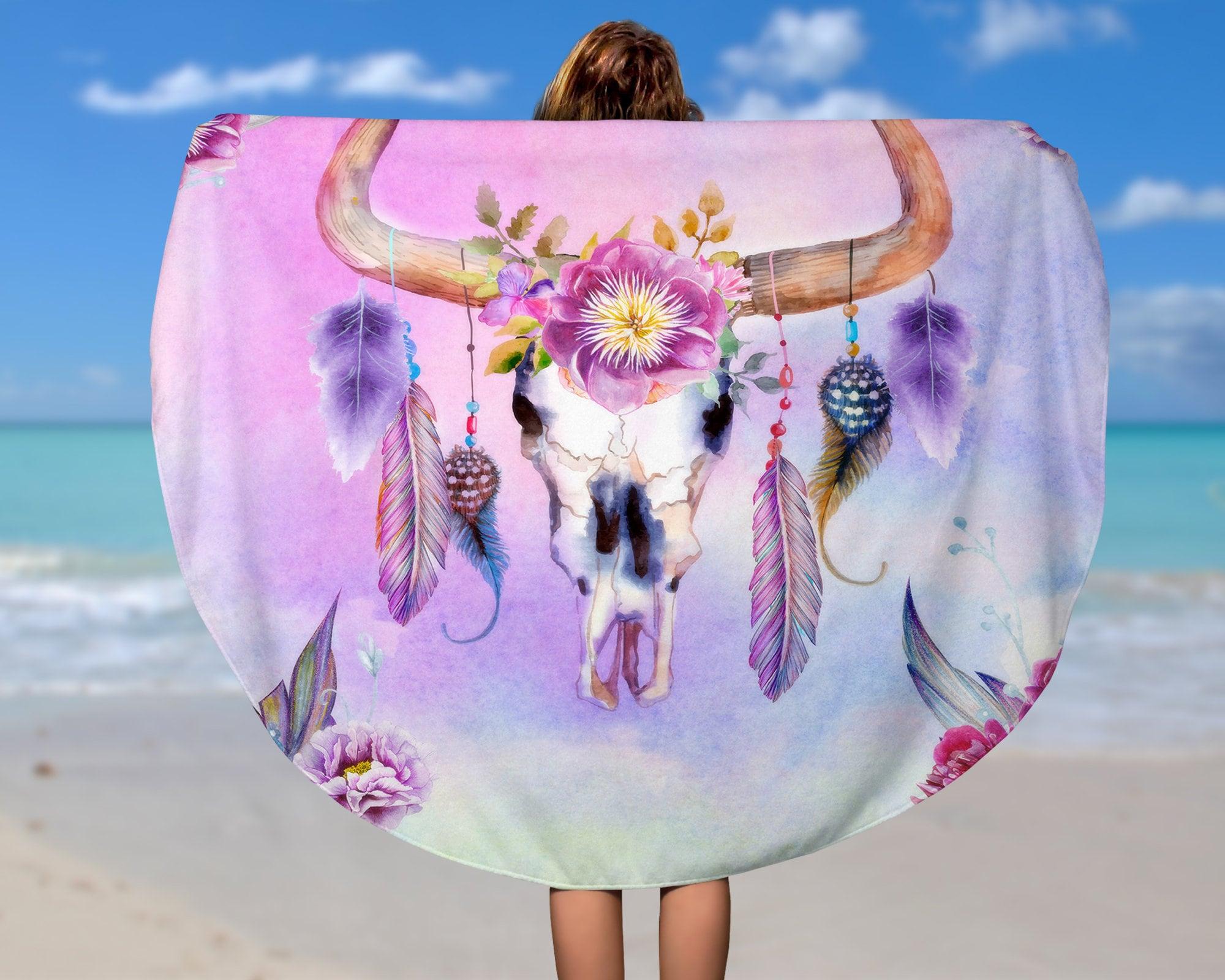 Round Beach Towel, Boho Chic ,Bull Skull, Dream Catcher ...