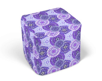 Purple Mandala  Ottoman , Footstool, Boho Chic Decor
