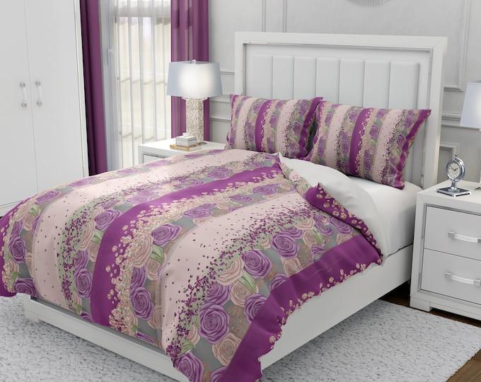Boho Plum Rose Floral Bedding Set
