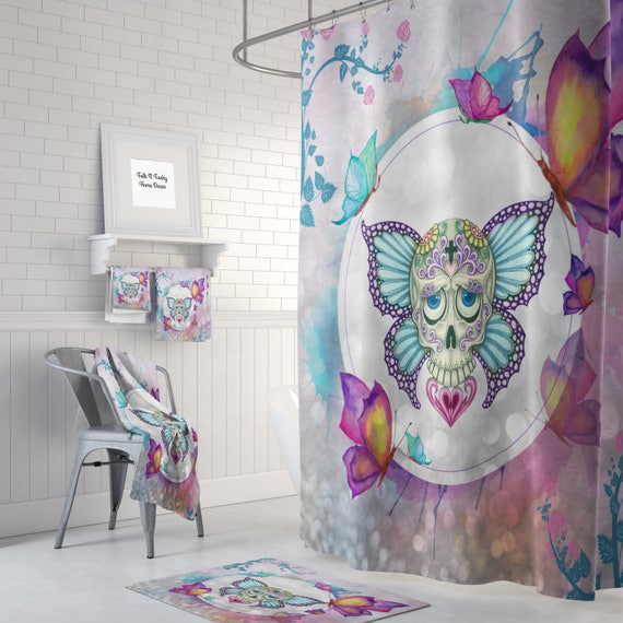 Sugar Skull Shower Curtain Day Of The Dead Butterfly Etsy